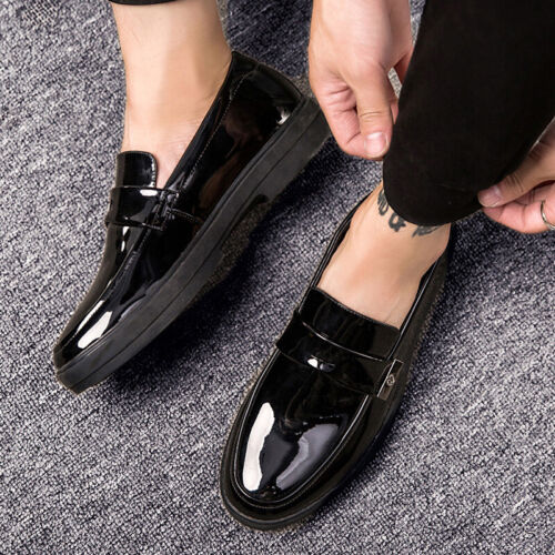 Business Men/'s Pumps Slip on Shiny British Party Dress Formal Leather Shoes Chic