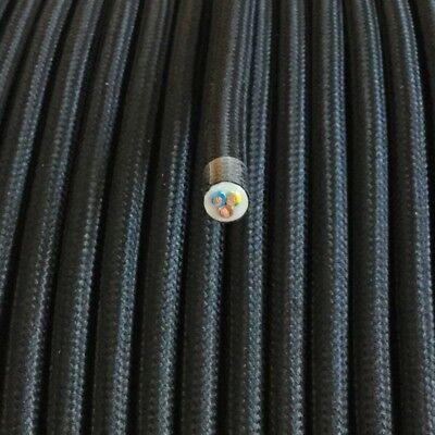 Textilkabel, Textilfaser umflochten Leitung,rund,schwarz 3x0,75 H03VV