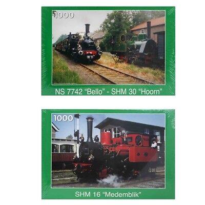 2 Stück 1000er Puzzle Nostalgie Eisenbahn Lokomotive Zug  NEU 1000 Teile