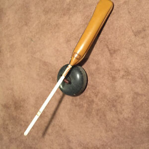 Antique Curling Rock and Vintage Curling Broom