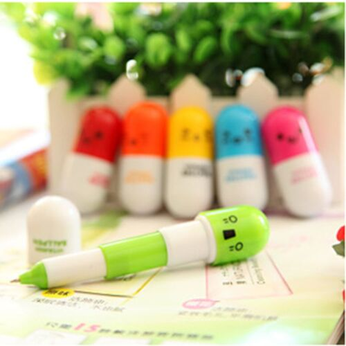 6pcs Face Pill Ball Point Pen Telescopic Vitamin Capsule Ballpen Stationer UN