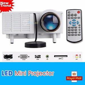 Portable Mini H LED Projector Cinema Theater PC&Laptop VGA USB SD AV Input HDMI