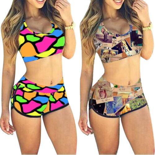 Sommer Damen Bikini Set Bademode hohe Taille Badeanzug Tops shorts Beachwear