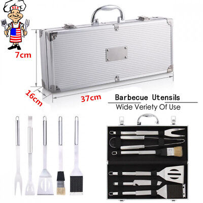 BBQ Tools Barbecue Grill Tool Set Kit 6Pcs Stainless Steel With Aluminum Case