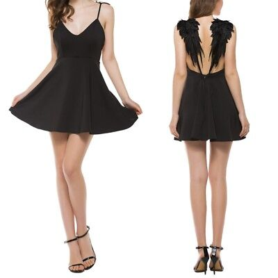 US Lolita Gothic Swan Dark Angel Wings Embroidery Dress Sexy Backless -