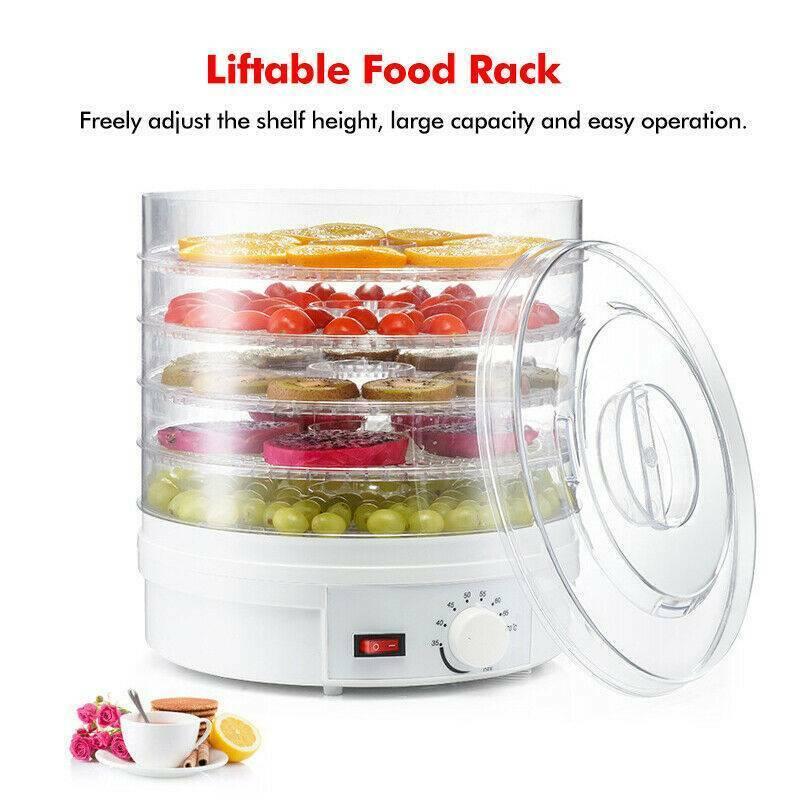 5 tray food dehydrator machine adjustable portable
