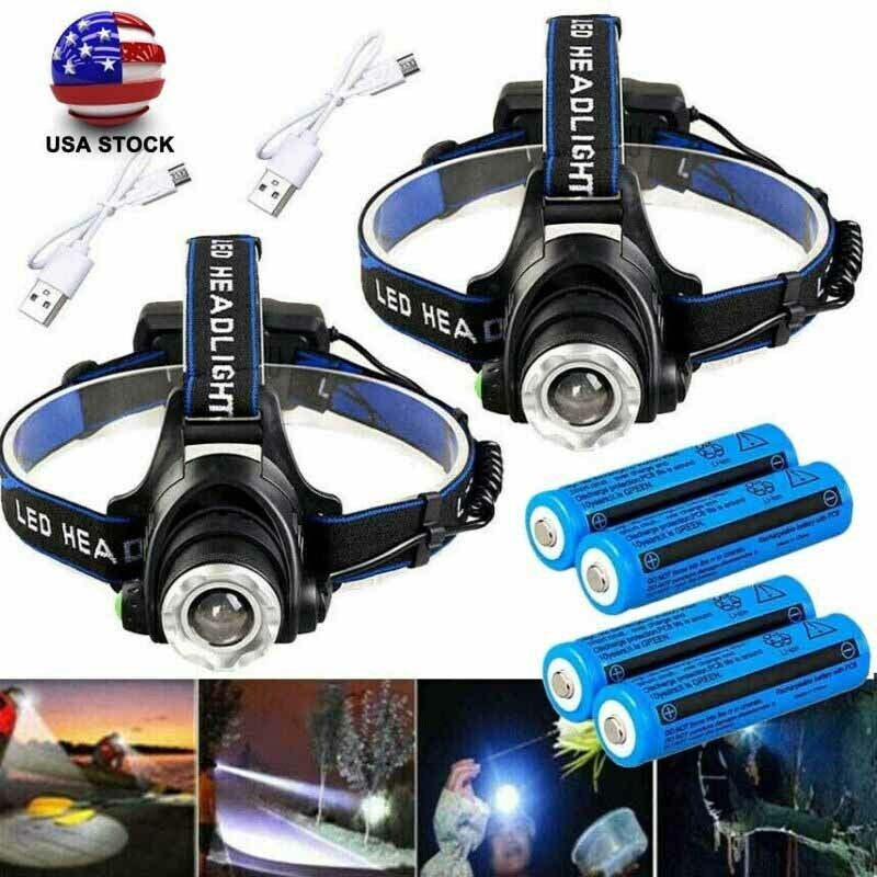 Tactical 350000LM 3x T6 LED 3Modes Rechargeable Headlamp Headlight 186*50 Torch