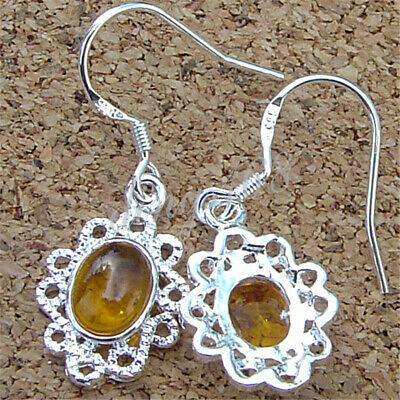 Solid 925 Sterling Silver Hollow Flower Amber Dangle Earrings 10mm * 15mm M685 15 Mm Amber Square