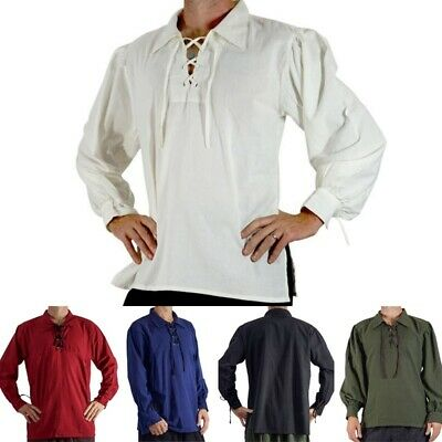Men's Renaissance Peasant Pirate Shirt Medieval Lace Up Tops Cosplay - Costums For Men