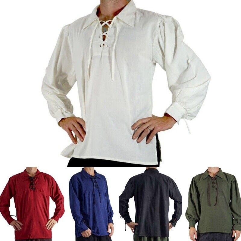Men's Renaissance Peasant Pirate Shirt Medieval Lace Up Tops