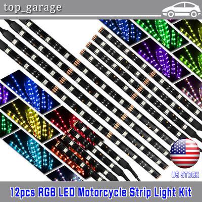 12pcs Motorcycle LED Under Glow Light Kit Multi-Color Neon Strip Remote Control