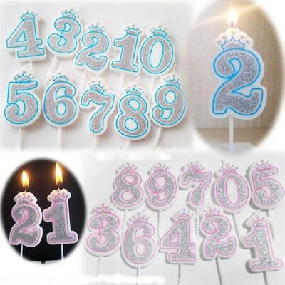 1Pcs Glitter Number Candles 0-9 Number Birthday Party Cake Candle Decoration