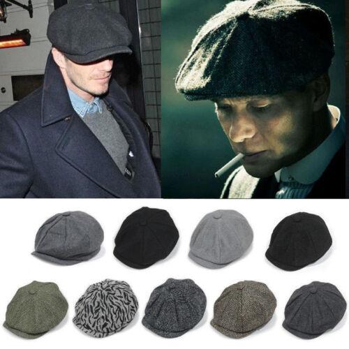 9195c71b Peaky Blinders Tommy Shelby Style Grey Herringbone Tweed Newsboy Cap Wool  Blend