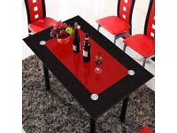 Dining Table only Furniture Room Set RED BLACK GLASS TABLE only