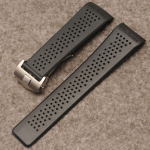Tag Heuer 22mm Watch Straps Black Openwork Rubber Silver Clasp