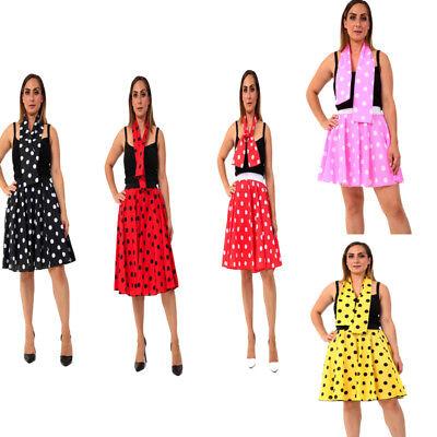 Ladies Women Polka Dot or Plain Rock N - Damen Rock N Roll Kostüme