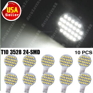 10-x-Pure-White-24-SMD-LED-T10-194-921-W5W-1210-RV-Landscaping-Light-Lamp-Bulbs