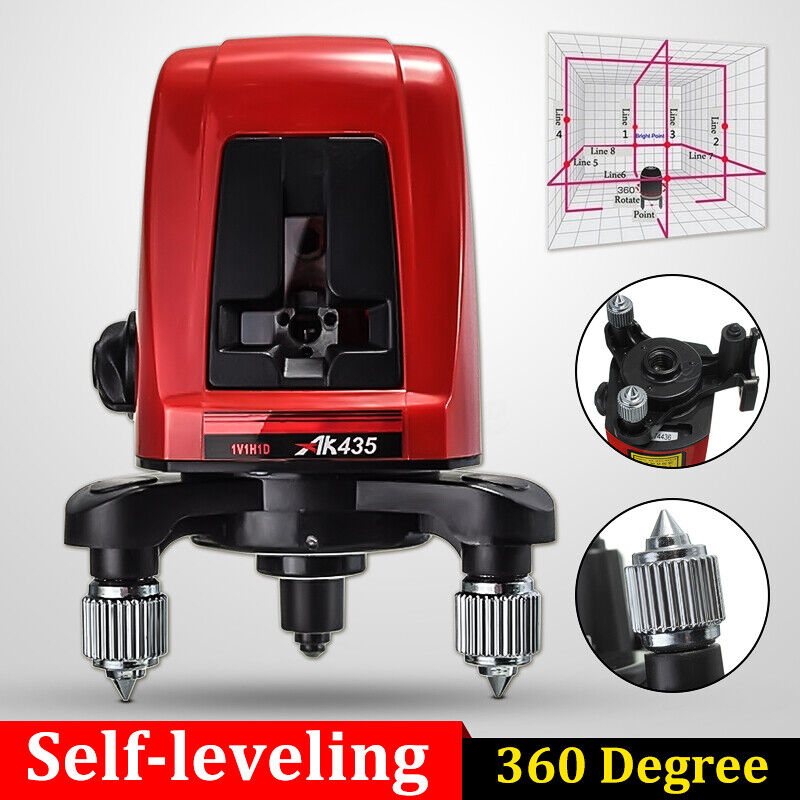 US AK435 360° Self-leveling Cross Laser Level Red 2 Line 1 Point + Bag Portable