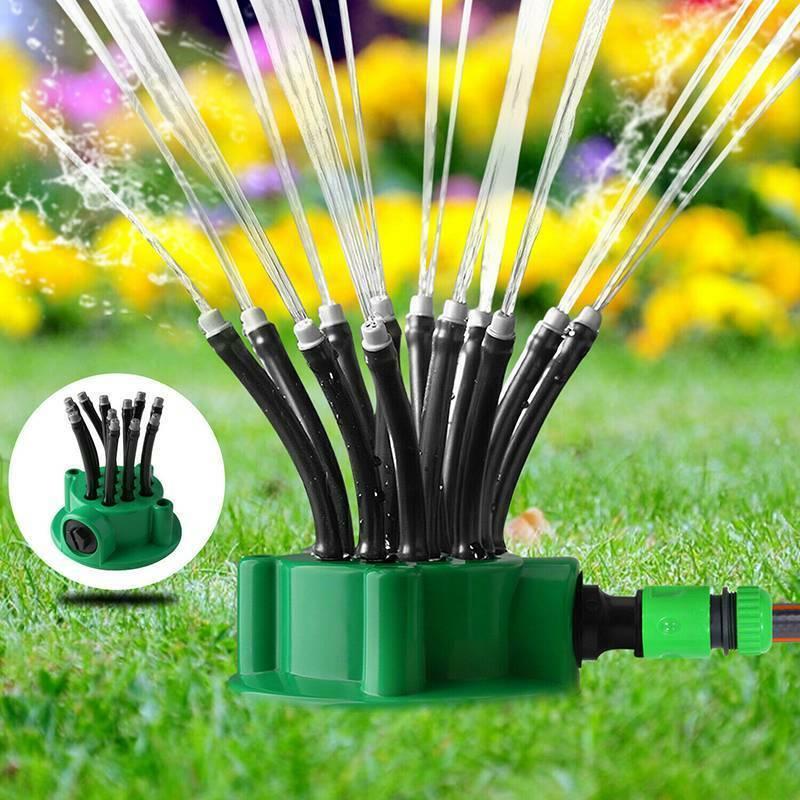 360° Garden Water Sprinkler Flexible 12 Tubes Yard Lawn Watering Sprayer System