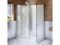 6mm 1500 x 695x 1850mm Curved Walk In Enclosure with Shower Tray—Victoria Plumb