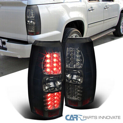 Fit Chevy 07-12 Avalanche Pickup Smoke LED Tail Lights Brake Lamps Left+Right