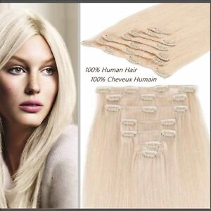 100% HUMAN HAIR,Blonde,CLIP IN Hair extension,7pcs set REMY Yellowknife Northwest Territories image 2