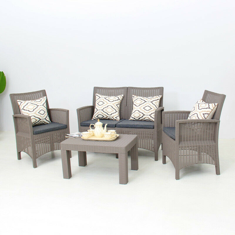 Garden Furniture - New Garden Furniture Set 4 Piece Chairs Sofa Table Outdoor Patio Conservatory