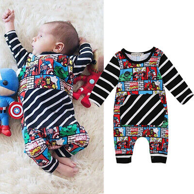 US Toddler Baby Boy Cartoon Romper Bodysuit playsuit Superhero Clothes Outfits