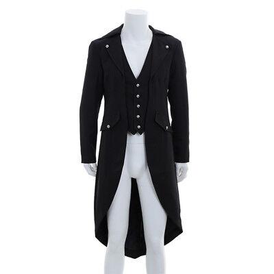 Herren Boy Frack Punk Gothic Jacke Schwarz Mantel Kostüm Cosplay Smoking (Schwarze Smoking Kostüme)