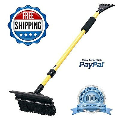 "Snow Removal Shovel Ice Scraper Extendable 52"" Telescoping Snow Broom Brush Car"