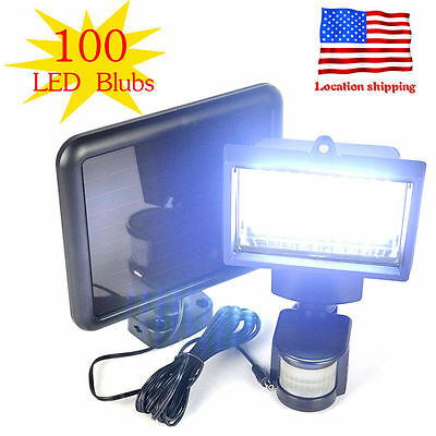 Waterproof 100 LED Solar Powered Sensor Light Security Flood Motion Garden Lamp