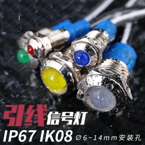 4Pcs LED metal indicator waterproof signal light , cable length 15cm power light
