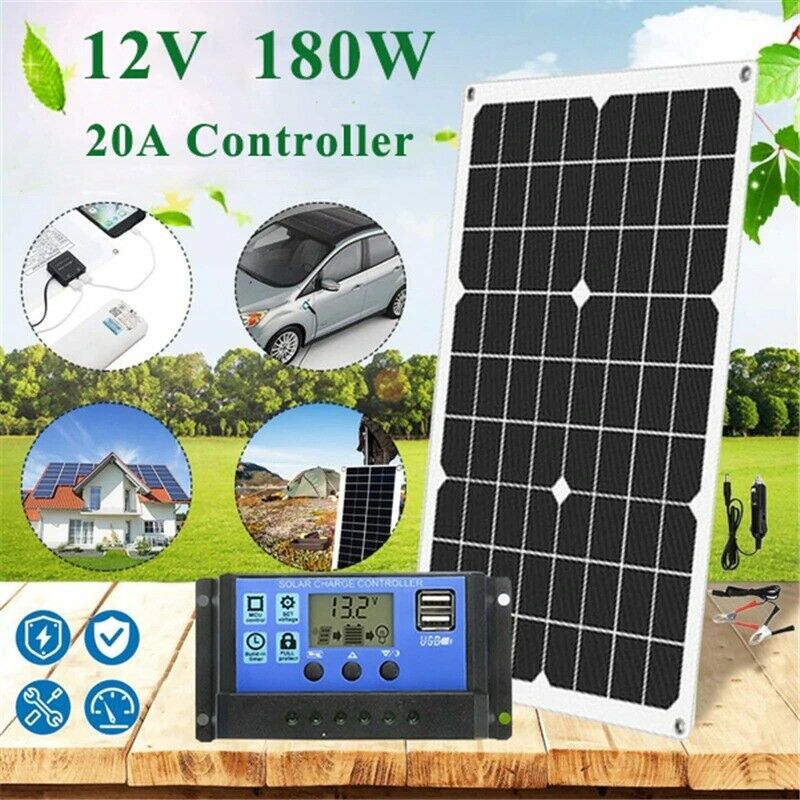 180W 12V 20A Solar Panel kit battery Charger LCD Display Solar Charge Module