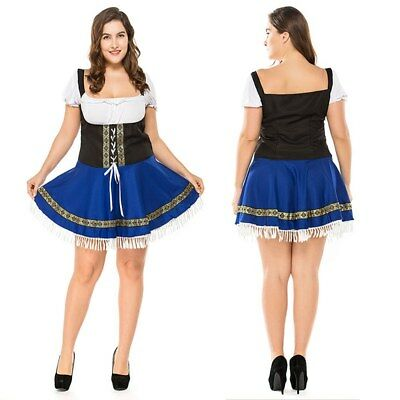 NEW SZ 3XL Lady Beer Maid Wench German Oktoberfest Costume Halloween Outfit  - Halloween Beer Wench Costume