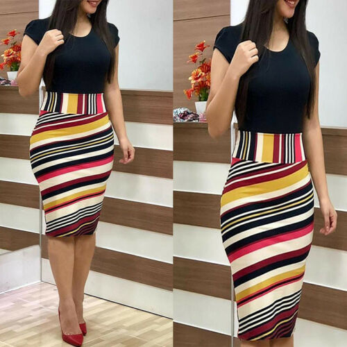 Elegant Women's Business Office Dress Formal Bodycon Sheath