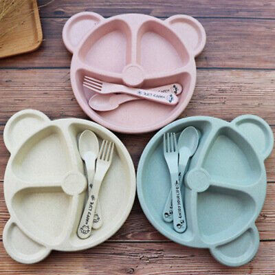 Baby Cartoon Plate Toddler Divided Plate Spoon Set Wheat Straw Tableware