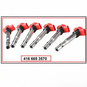 New Set of 6 Red Ignition Coil For VW Touareg Audi 06E905115D