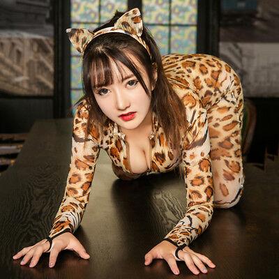 Women Jumpsuit Leopard 2 Ways Two Zipper Catsuit Open Crotch Cat Costume T6C6](Cat Catsuit)