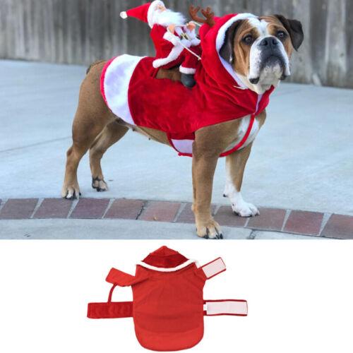 Christmas Santa Claus Pet Dog Fancy Dress Jacket Coat Costume Outfit Clothes we 7