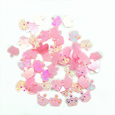 New 100pcs Resin Crown 12mm Flatback Scrapbooking For DIY Phone Craft Pink AB #5