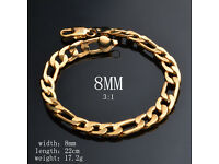 Chinese Heavy 18K Gold Plated Bracelet Men's/Ladies 8mm x 22cm Chain Fashion Jewellery