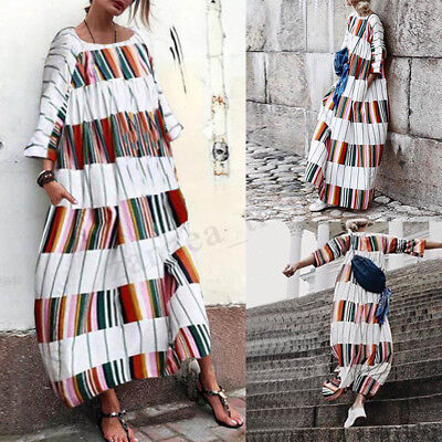 Ladies Loose Baggy Kaftan Abaya Party Evening Long Sleeve Printed Maxi Dress