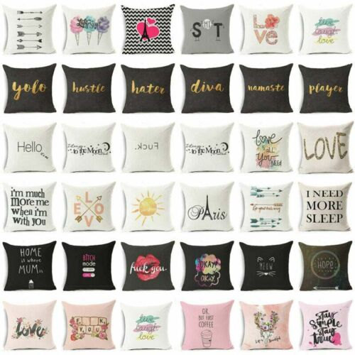 """Cotton Linen 18"""" Funny Art Words Pillow Case Sofa Throw Cush"""