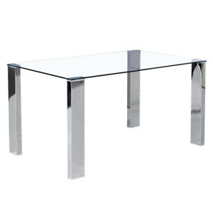 GLASS AND CHROME FRANKFURT DINING TABLE - $280