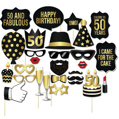 30th Birthday Balloons (28pcs Happy Birthday Photo Booth Props Set Party Black Gold 30th 40th)