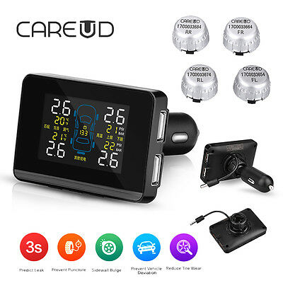 Wireless LCD Car Auto TPMS Tire Pressure Battery Power Monitor System +4 Sensors