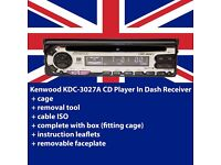 Kenwood KDC-3027A CD Player In Dash Receiver + fitting cage + tool + Cable ISO + instruction leaflet