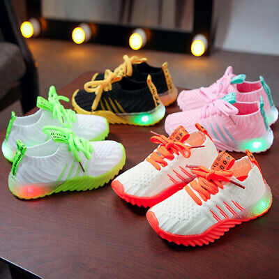 1-6Y Baby Boys Girls LED Light Up Sneakers Kids Luminous Shoes Trainers