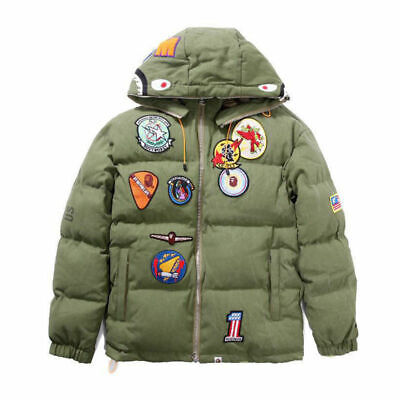 Bape A Bathing Ape Shark Head Winter Thick Jacket Embroidery Hoodie Padded Coat