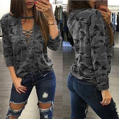 Women V-Neck Lace Up Camo T-Shirt Long Sleeve Casual Loose B